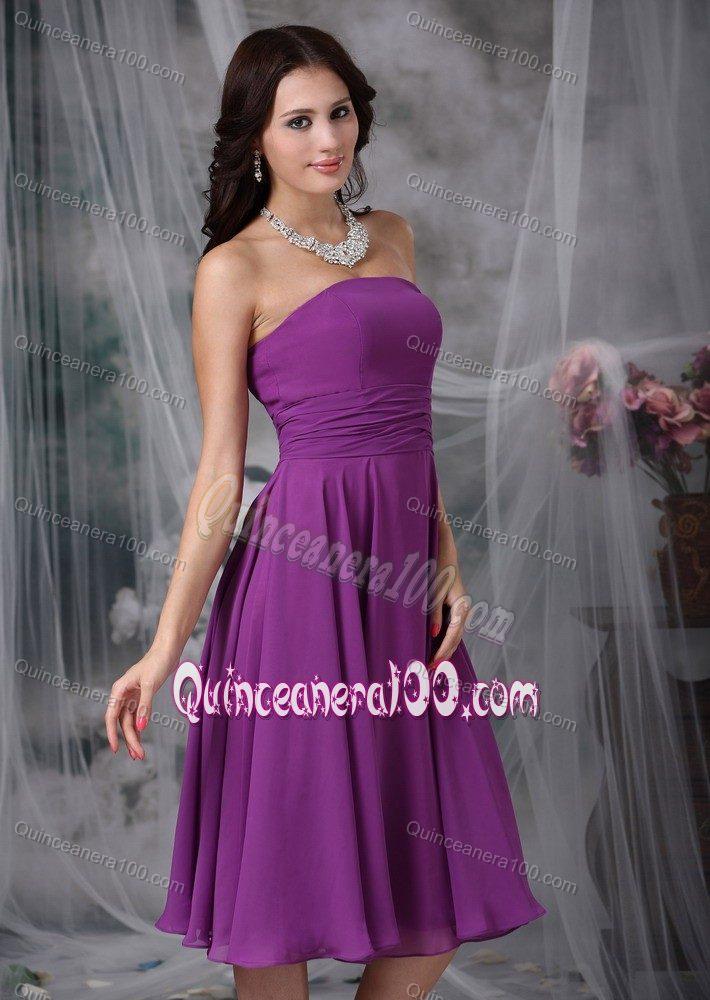 f3dc8dcd0578 Purple Strapless Tea-length Chiffon Ruched Dresses for Damas ...