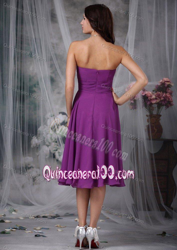 7daec61e8064 ... Purple Strapless Tea-length Chiffon Ruched Dresses for Damas