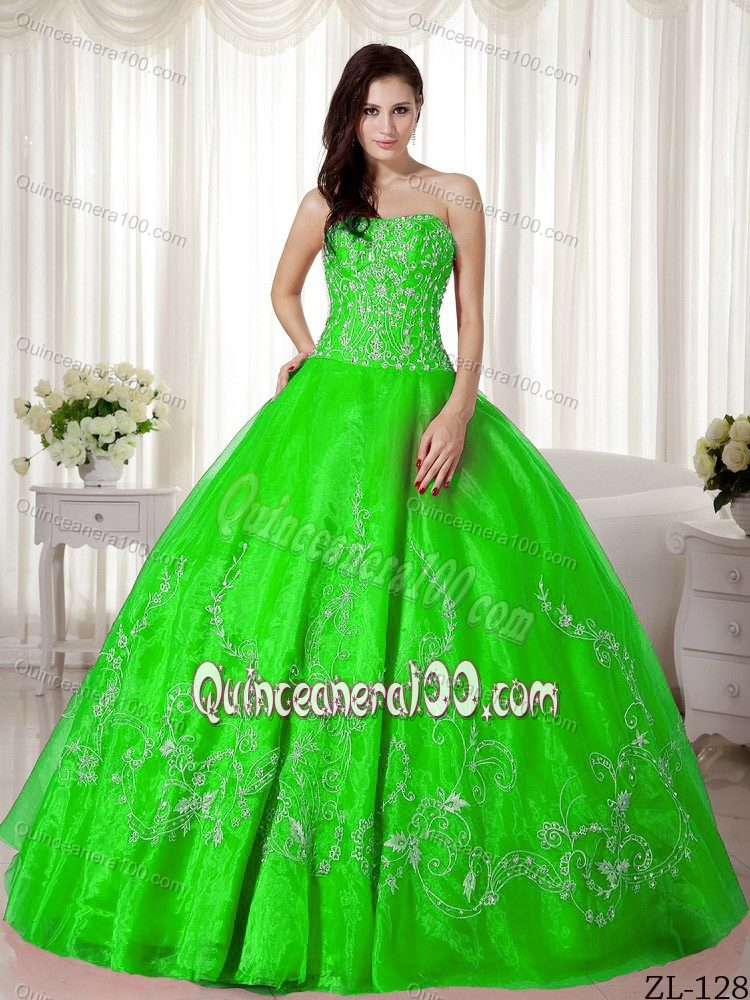 Cheap Spring Green Strapless Dress for Sweet 16 with Embroidery ...
