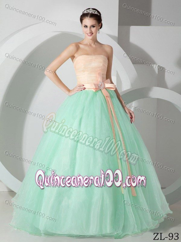 0a5abae5de7 Simple Organza Strapless Dresses for Quince with Beaded Bowknot ...