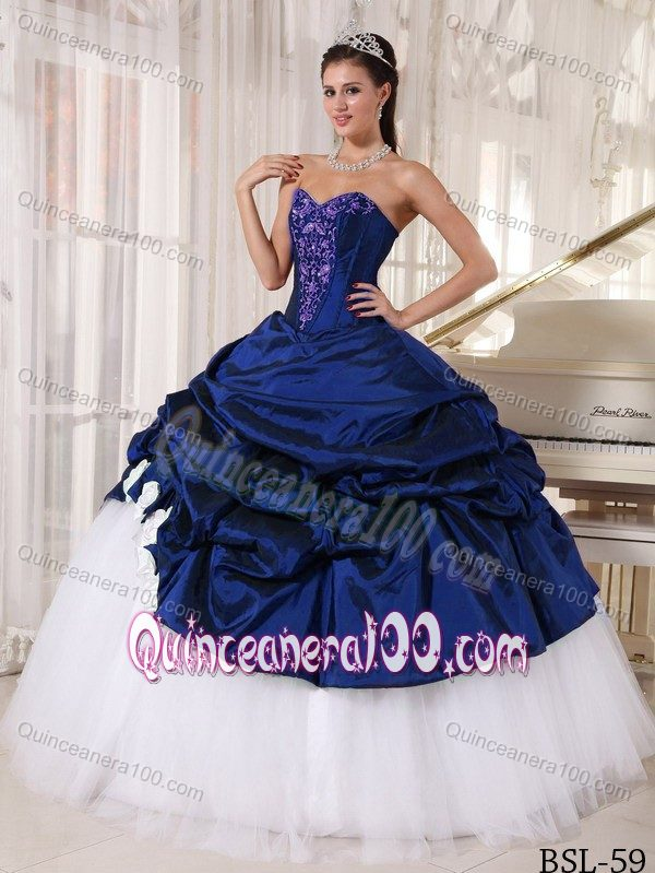 Blue And White Ball Gowns Navy Blue and White Ball Gown