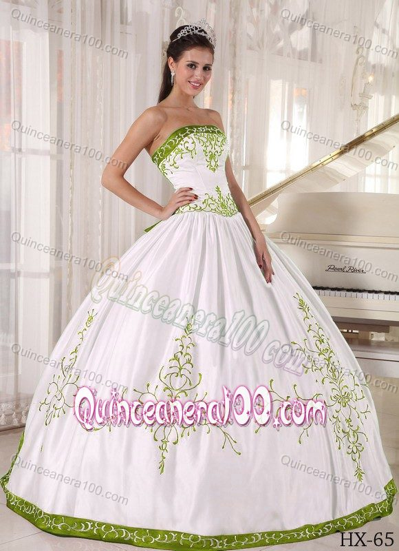 White Ball Gown Embroidery Satin Quinces Dresses Custom Made ...