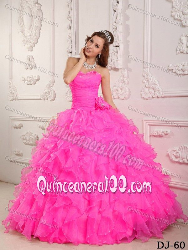 Amazing Sweetheart Hot Pink Sweet 15 Dresses with Ruffled Layers ...