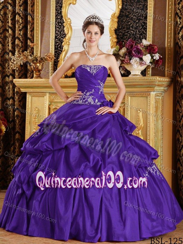 Purple Strapless Pick-ups Dresses for a Quinceanera Custom Made ...
