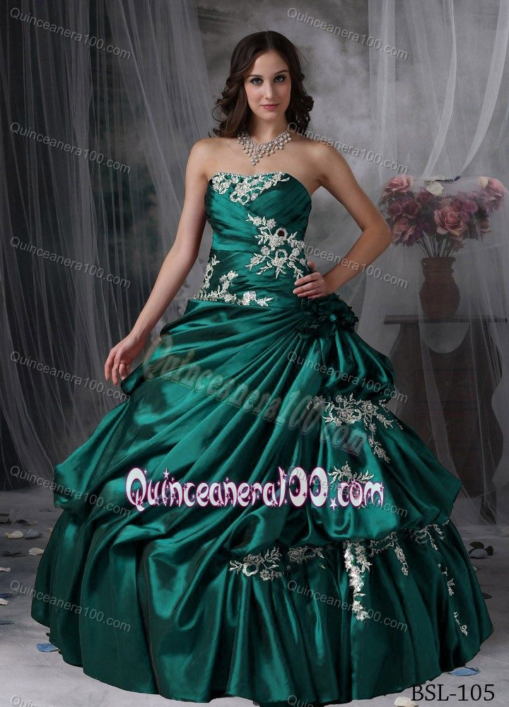 Customize Appliques Ruche Taffeta Sweet 16 Dresses in Dark Green ...