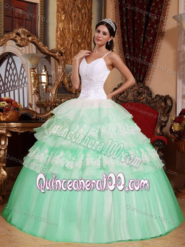 Mint Colored and White Spaghetti Straps Tiered Quinceanera Dresses ...