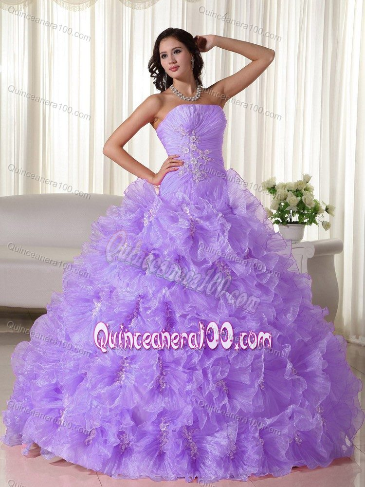 Chic Lilac Strapless Appliques and Ruffles Quinceanera Party Dress ...