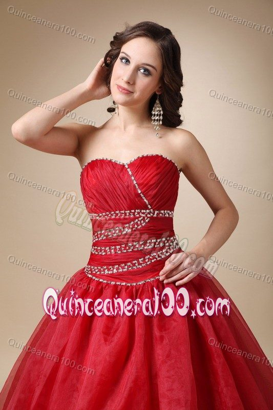 Cheap Court Train Organza Beaded Wine Red Sweet 16 Dresses