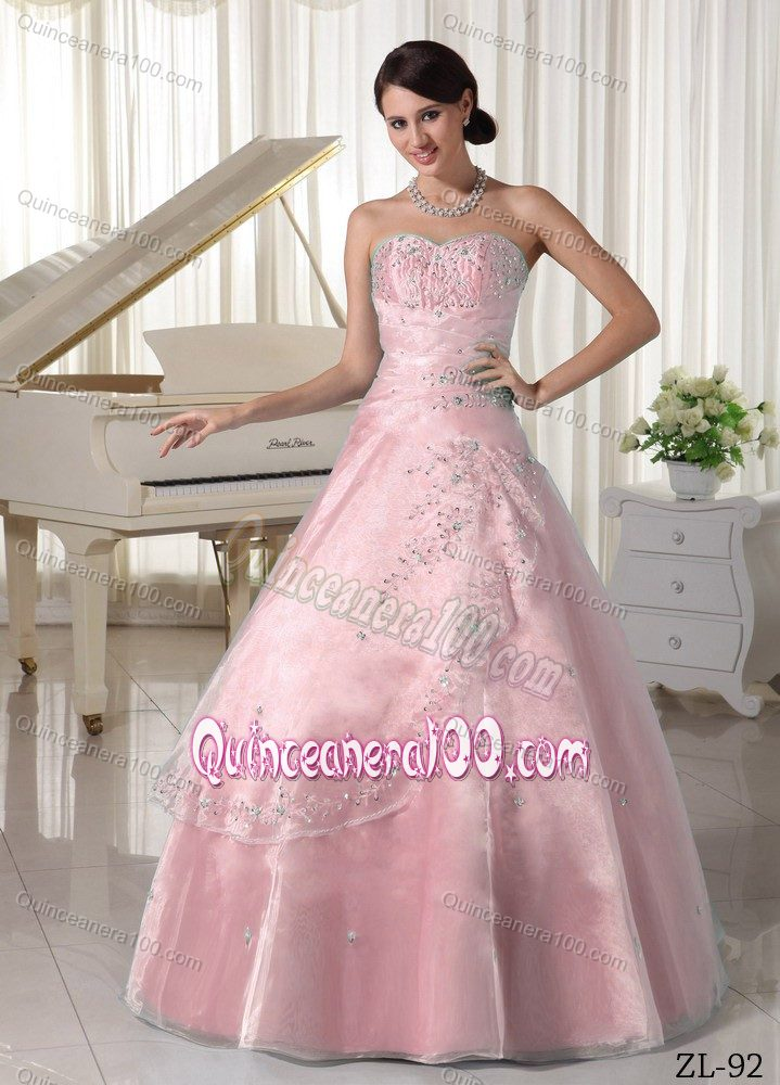 Attractive Appliqued Beaded Light Pink Sweet 16 Dresses Factory ...