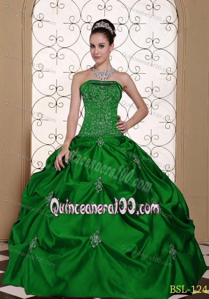 Dark Green Sweet 15 Dress with Embroidery and Pick-ups Online ...