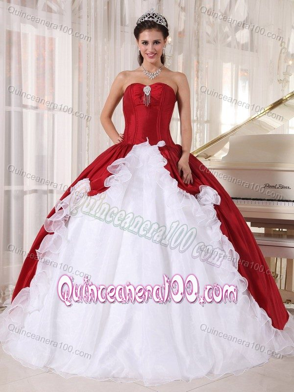 Unique Ruffled Wine Red and White Dress for Sweet 16 Online ...