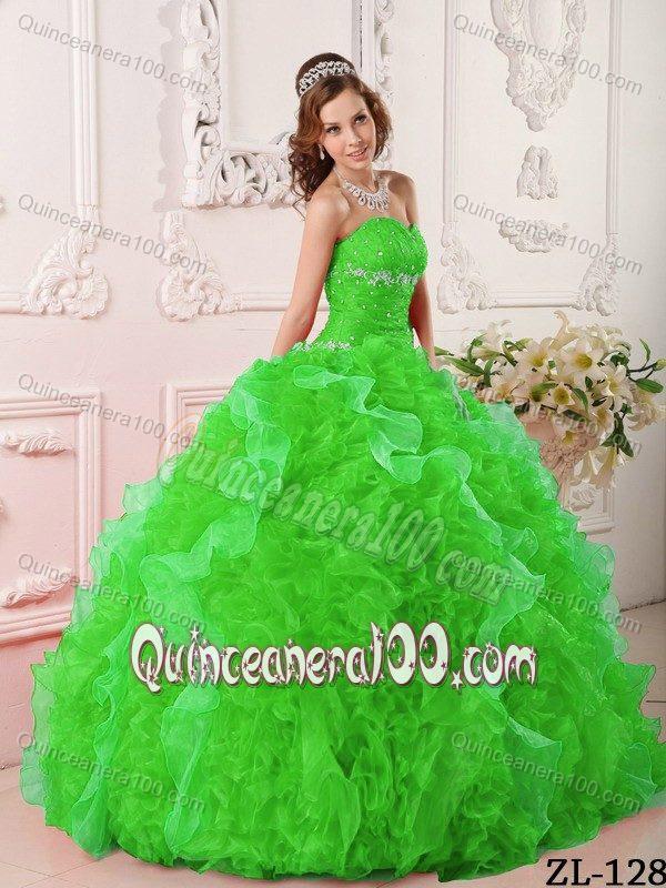 2015 Free Shipping Beaded Ruffled Spring Green Sweet 16 Dress ...