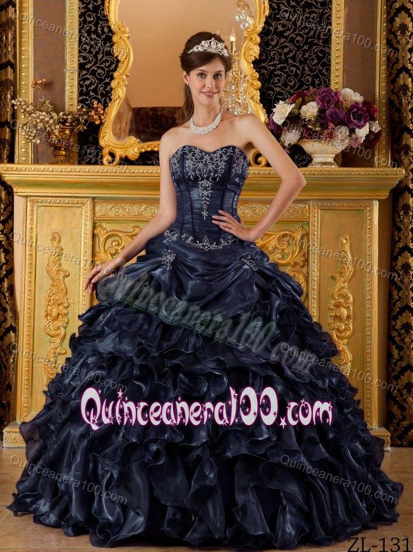 2014 Miss Universe Exquisite Navy Blue Ball Gown Appliqued Dress for ...