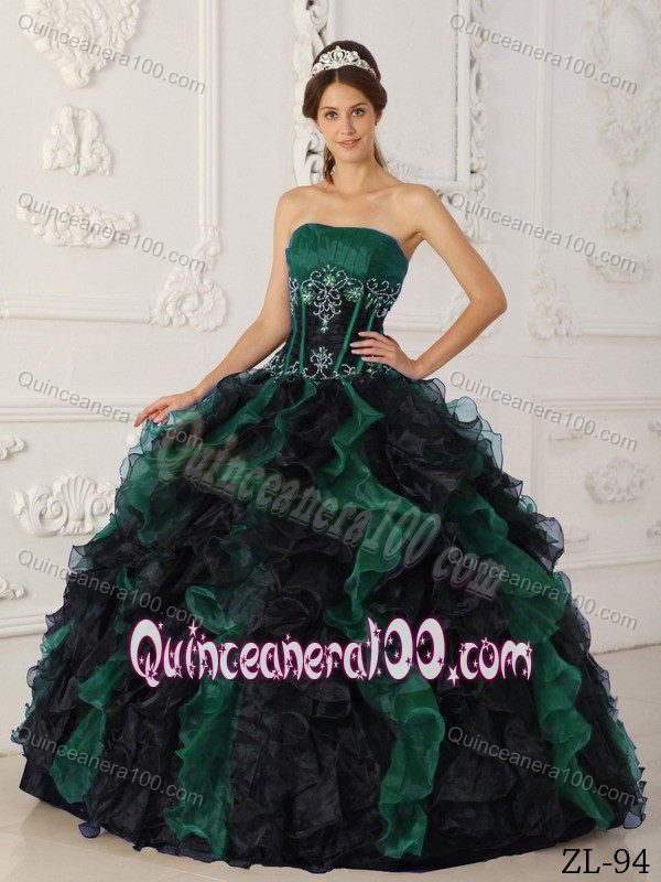 Low Price Green and Black Ball Gown Ruffled Quinceanera Dress ...