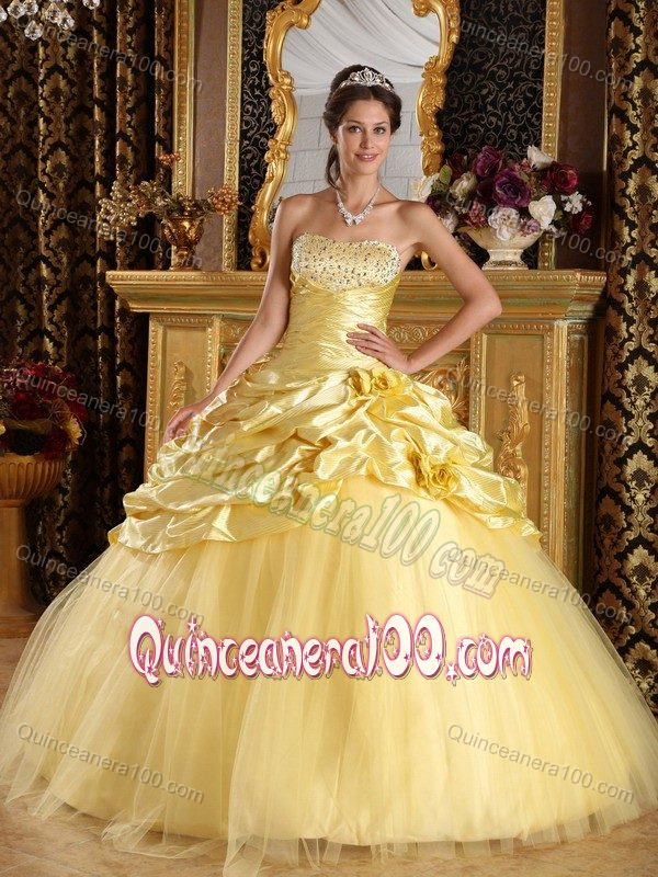 Taffeta and Tulle Beaded Yellow Dresses for Sweet 15 with Pick-ups ...