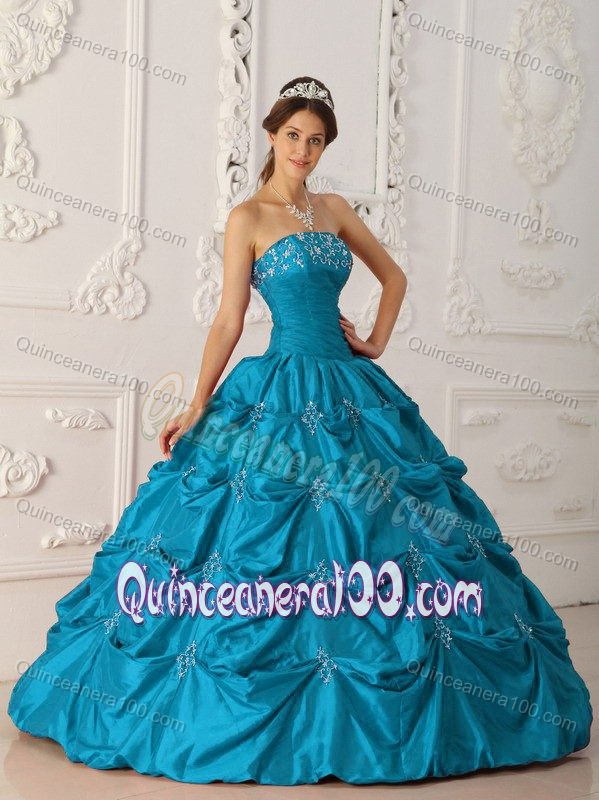 Teal Ball Gown Pick-ups Dresses for a Quinceanera with Appliques ...