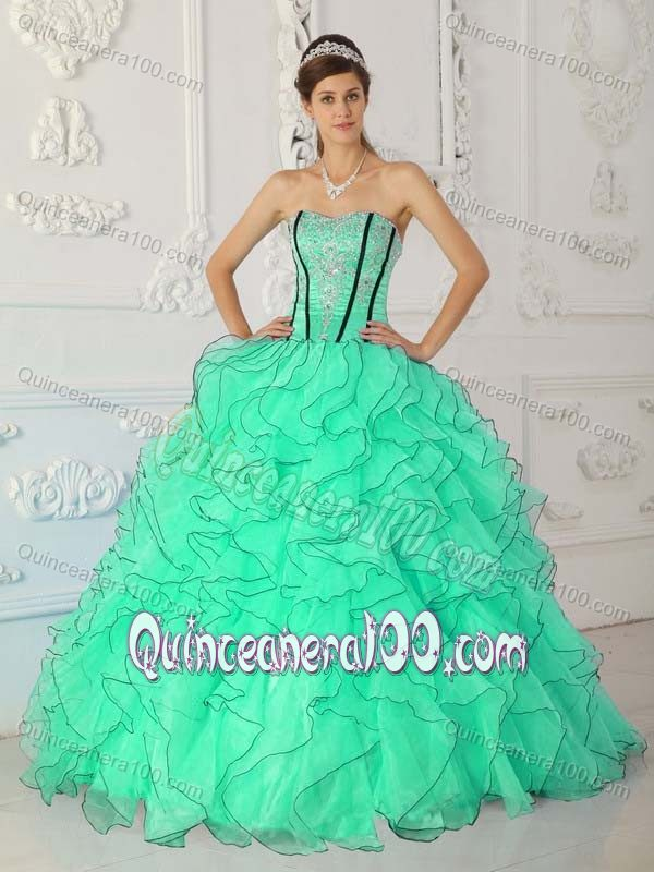 Apple Green Ruffles Sweetheart Quinceanera Gowns with Beading ...