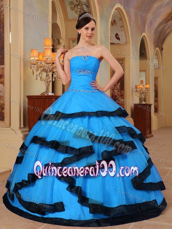 Strapless Beading Organza Dresses for a Quinceanera in Aqua Blue ...