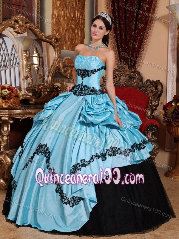 Best Ball Gown Strapless Sweet 15 Dress with Appliques ...