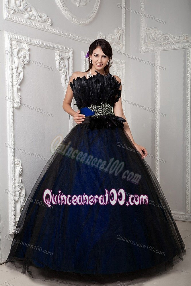 Ball Gown Beaded Black and Blue Feather Quinceanera Dresses ...