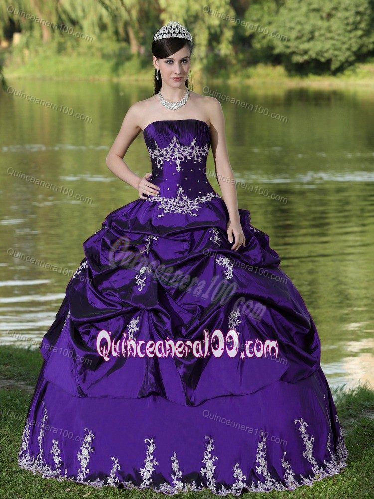 Low Price Appliqued Purple Dress for Sweet 16 with Pick-ups ...