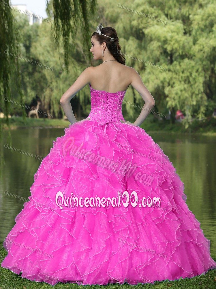 Beaded Ruffled Hot Pink Dresses for Sweet 16 with Corset Back ...