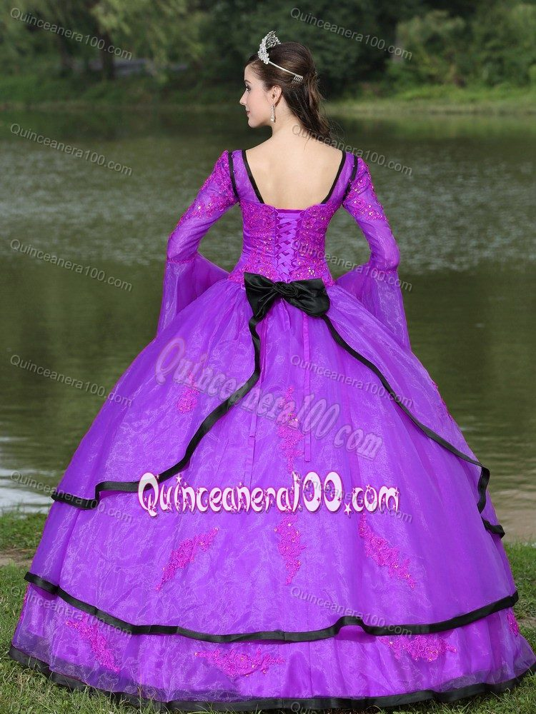 Long Sleeves Appliqued Purple Dresses for Sweet 15 for Rent ...
