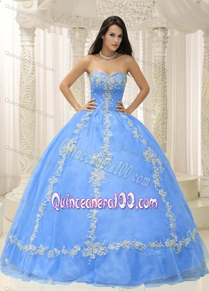 Pretty Baby Blue Appliqued Beaded Quinceanera Gown Dresses ...