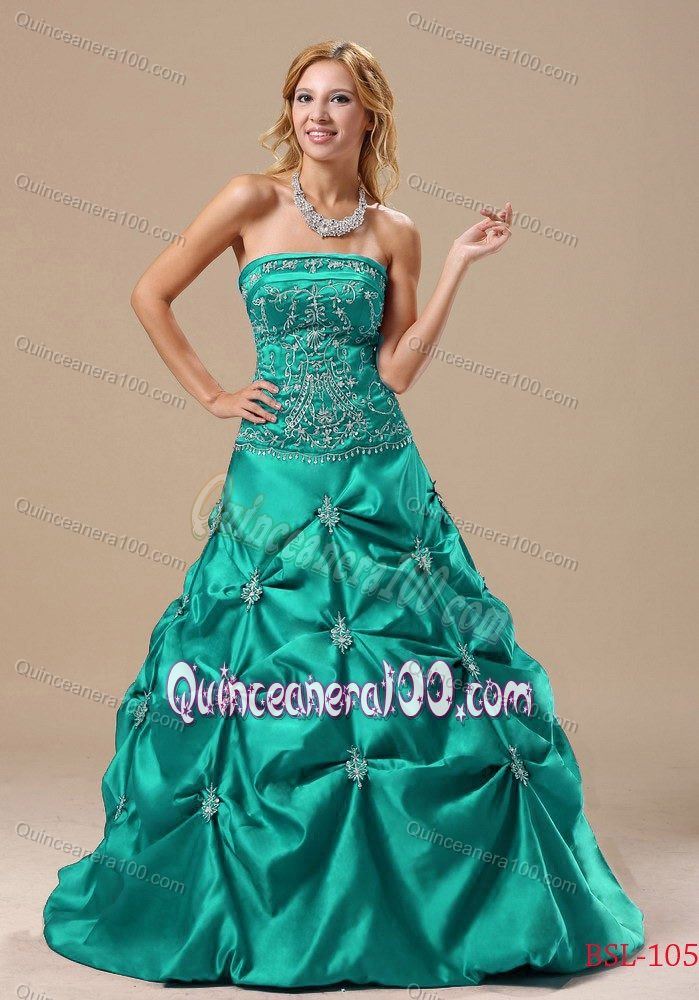 Plus Size a-Line Turquoise Dress for Sweet 16 with Embroidery ...