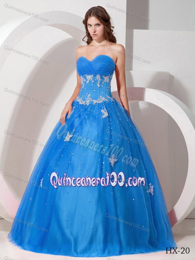 Beaded Appliqued Aqua Blue Quinceanera Party Dress for Rent ...
