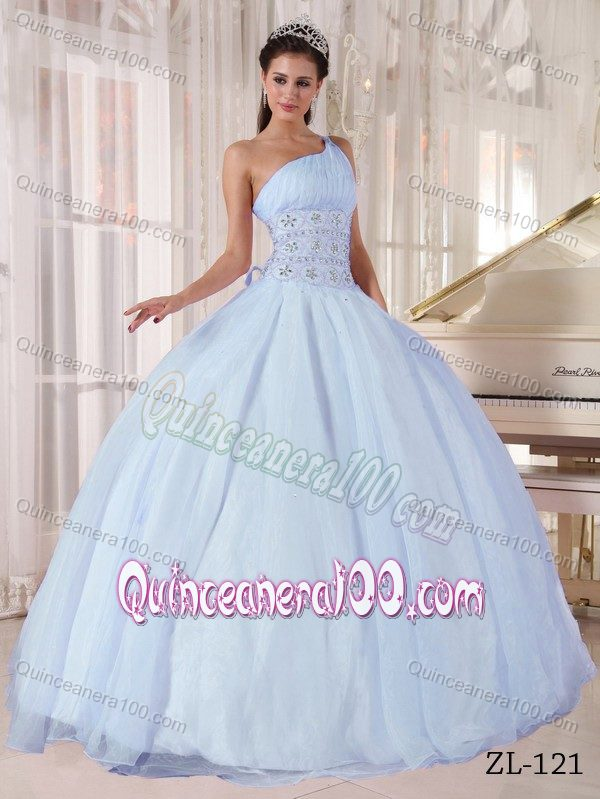 Noble Light Blue One Shoulder Sweet 16 Dress with Rhinestones ...