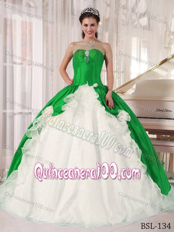 Wholesale Green and White Ball Gown Dress for Quinceanera ...
