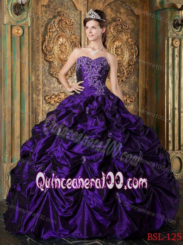 Plus Size Pick-ups Appliqued Purple Quinceanera Dresses Online ...