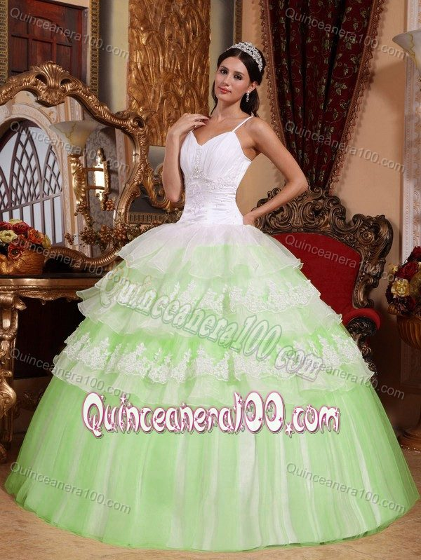 Mint Colored and White Spaghetti Straps Multi-tiered Dresses of 15