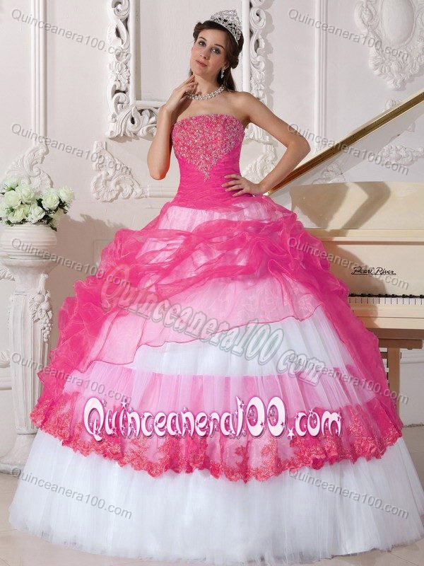 Hot Pink and White Organza and Taffeta Appliques Dress for Quince ...