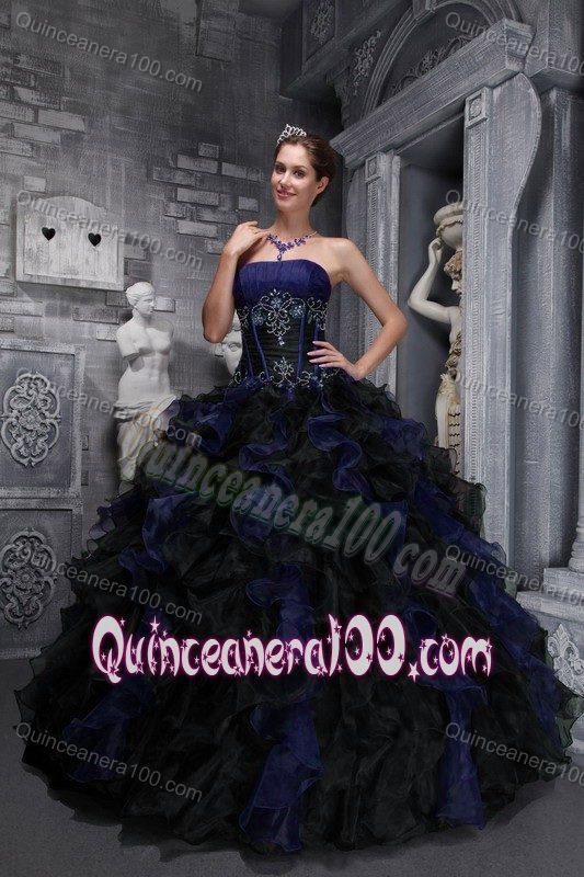 Ball Gown Strapless Navy Blue Ruffled Appliqued Sweet 16 Dress ...
