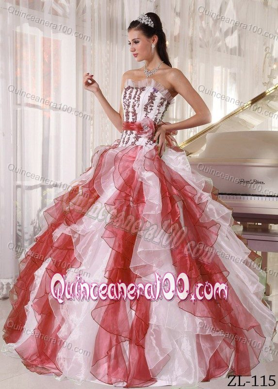 Stunning Rust Red and White Ruffled Appliqued Quinces Dresses ...