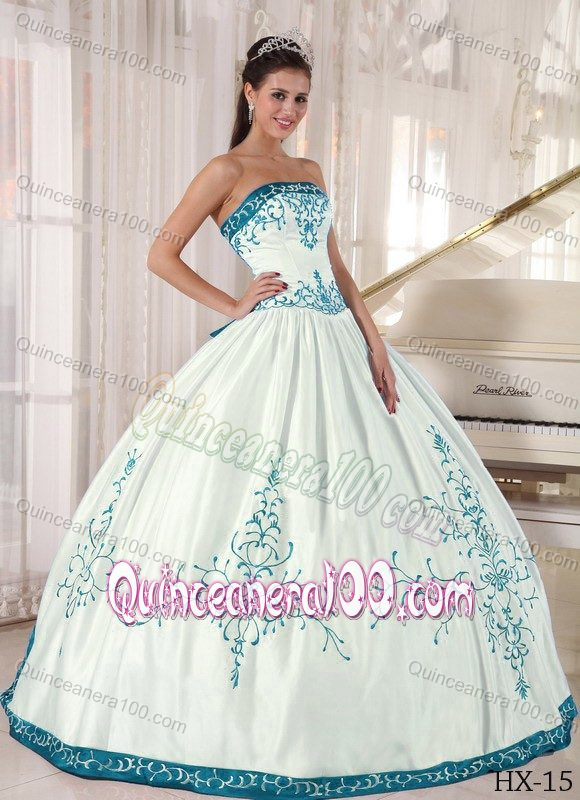 Affordable White Strapless Sweet 16 Dress with Teal Embroidery ...