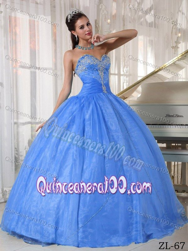 Blue Taffeta and Tulle Sweet Sixteen Dresses with Appliques ...