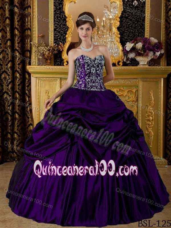 Dark Purple Sweetheart Taffeta Pick-ups Quinceanera Dresses ...