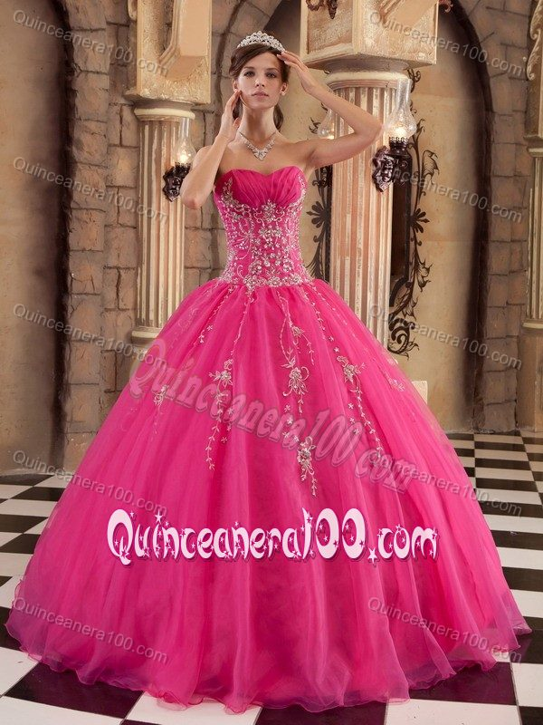 Noble Hot Pink Organza Quinceanera Dresses with Shimmery Beadings