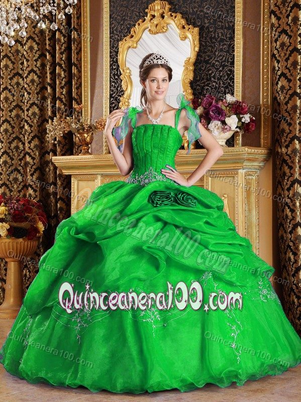 Amazing Green Ball Gown with Spaghetti Straps Dress For ...