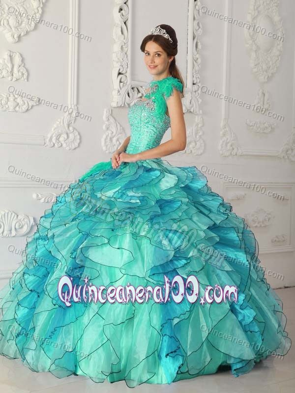 Ball Gown One Shoulder Sweet 16th Dress in Turquoise with Beads ...