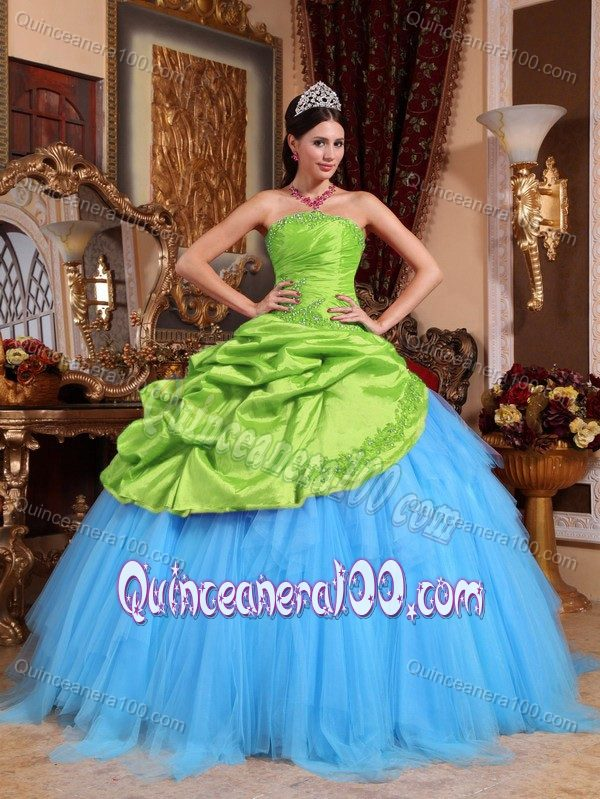 Spring Green and Blue Strapless Appliqued Quinceanera Gowns ...