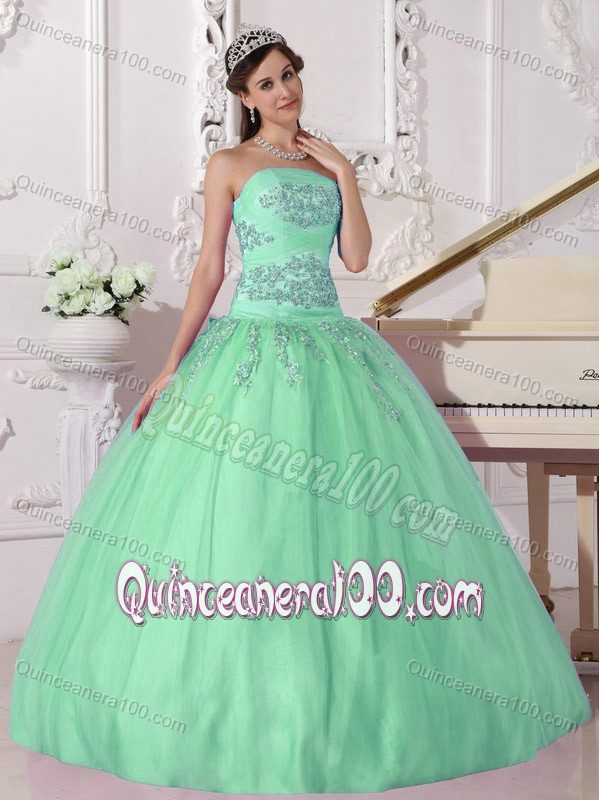Apple Green Ball Gown Strapless Beading 2014 Quinceanera Dress ...