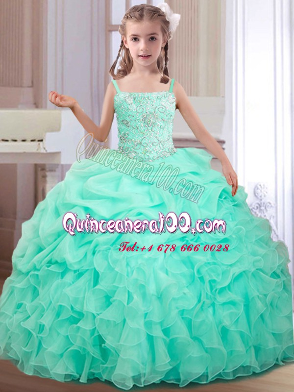 Straps Floor Length Lace Up Custom Made Pageant Dress Apple Green for Quinceanera and Wedding Party with Beading and Ruffles and Pick Ups