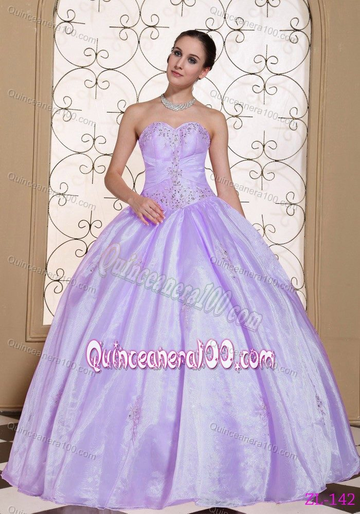 Light Purple Sweetheart Sweet Sixteen Quinceanera Dresses Beaded ...