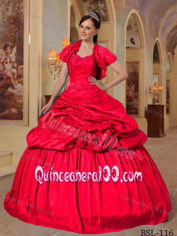 Neon Red Sweetheart Taffeta Quinceanera Dress by Taffeta with ...