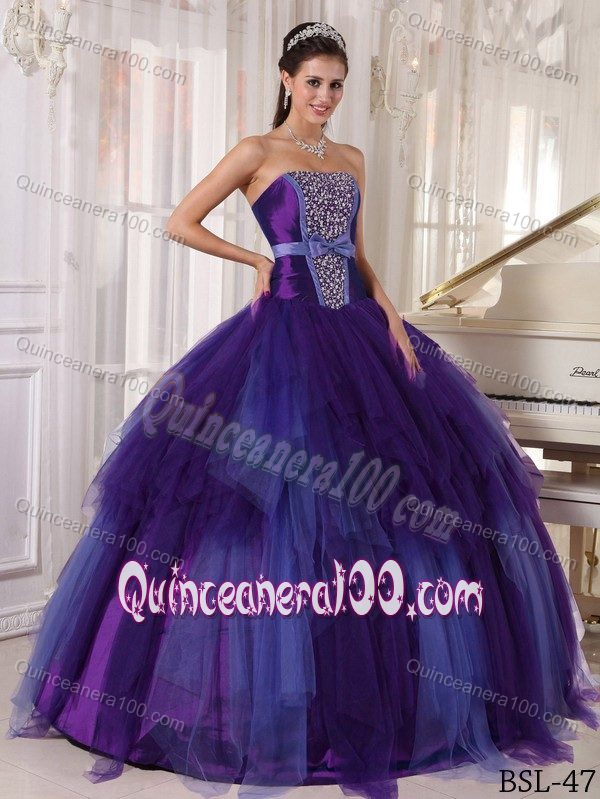 2014 Purple and Blue Tulle Strapless Sweet Sixteen Dresses with ...