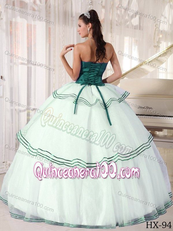 Teal and White Organza Quince Dress with Strapless Neck and ...